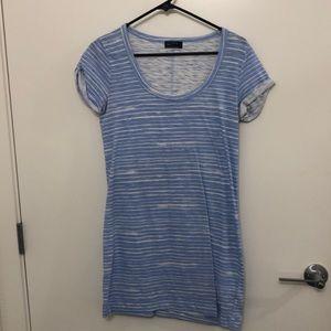 Blue Striped T-Shirt Dress